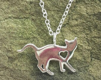 Cat Necklace|Cat Heart Necklace|Silver Cat Necklace|Cat Gift|Cat Pendant|Kitty Necklace|Silver Cat Jewellery|Sterling Silver Cat|Kitten