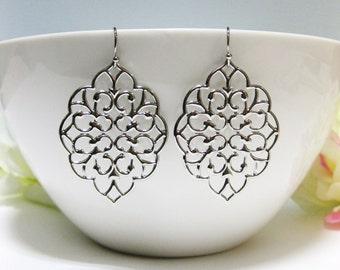 Large Silver Filigree Dangle Earrings Chandelier Earrings Moroccan Earrings Modern Earrings Everyday Wear Silver Earrings (ER009)