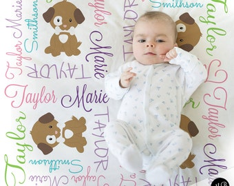 Puppy blanket for baby girl, personalized blanket, puppy blanket, girl baby blanket, baby shower gift, receiving blanket  PuppyG1