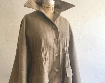 Khaki brown cape coat * Vintage 1970s dramatic full-length coat * 70s wool blend cape with patches