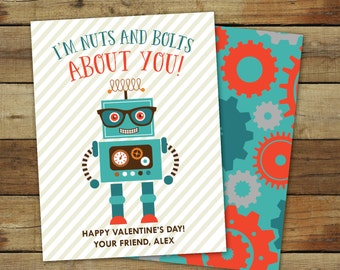 Robots Valentine's Day Card - Printable Robots Valentine - I'm nuts and bolts about you - editable pdf - instant download