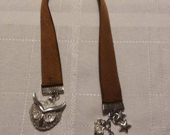 Pewter Owl Bookmark - Ribbon Bookmark with Pewter Charms and Pewter Pendant - Inspired by Hedgwig from Harry Potter Bookmark Pewter Bookmark