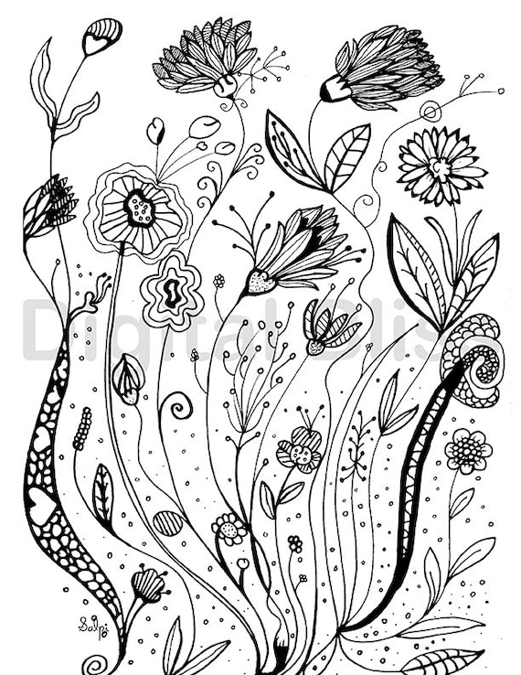 coloring pages for kids wild flowers | Adult Coloring Pages Whimsical Wild Flowers Design Adult