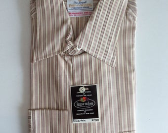 1960s-70's men's shirt like new with original tag- Fruit of the Loom vintage striped shirt