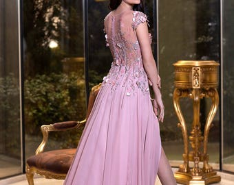 Rose Ash Mother of the bride dress, Long Evening gown Prom dress, Elegant occasion dress, Formal cocktail dress, Sleeveless bridesmaid dress