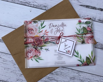 Vellem pocket invitation with florals