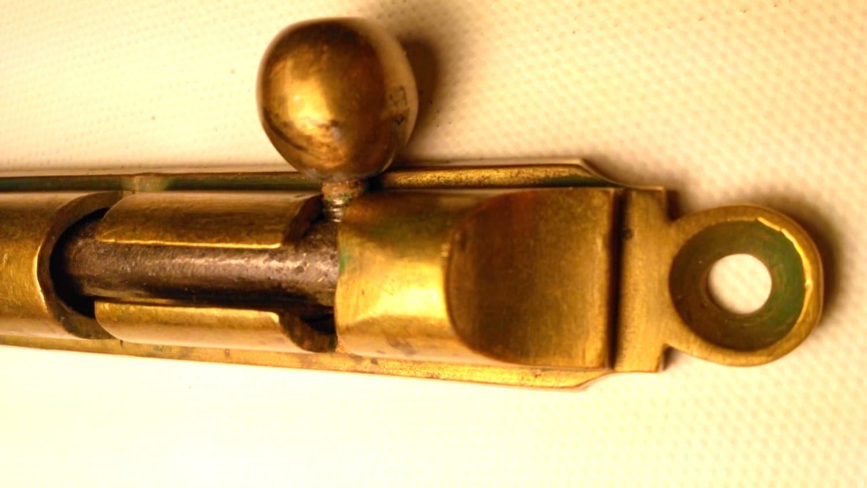 Sold by AlexZvintage - Antique Solid Brass Barrel Bolt Slide Door Lock, Vintage Brass