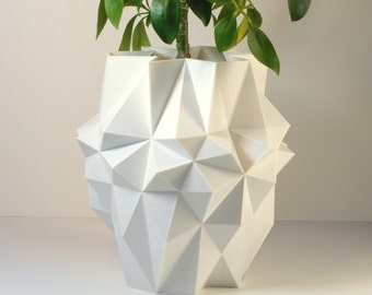 Large Polygon Planter White Large Planter White Pineapple Planter Pot White Pot Modern Industrial Design Tall Plant Pot Geometric Planter