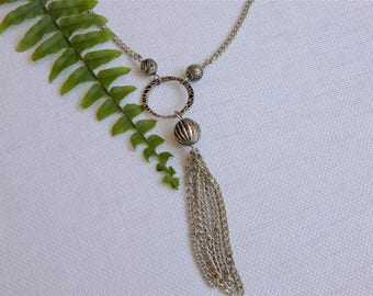 Silver Chain Necklace with Tassel (N33)