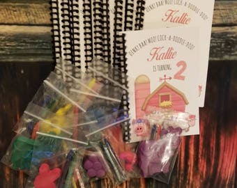 Party favors, Floral farm animals birthday party favors personalized coloring books and crayons