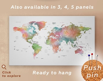 large watercolor world map push pin canvas detailed world map canvas art watercolor world map wall