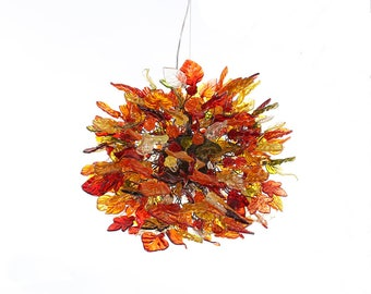Hanging chandeliers with warm color leaves and flowers, lamp for Dining Room or living room