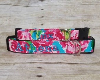Personalized/Monogrammed Watercolor Roses/Pink/Floral/ Flowers/Embroidered/Dog Collar/Dog/Cat