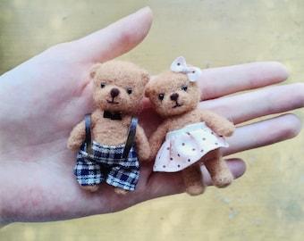 Miniature teddy bear, Dollhouse toy, dollhouse teddy bear, doll's toy, Blythe's toy, Needle felt bear, needle felted toy, doll house bear