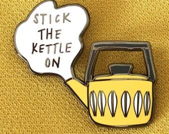 Kettle Enamel Pin Badge, Tea hard enamel pin, catherine holm style kettle pin, teapot, time for tea, tea break,