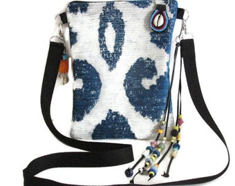 Bags Blue Jacquard Chenille Native American Navajo Medicine Style Boho Tribal Fringe Crossbody Handmade Southwest Vintage Gifts For Women