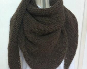 Trendy Brown lightweight wool shawl