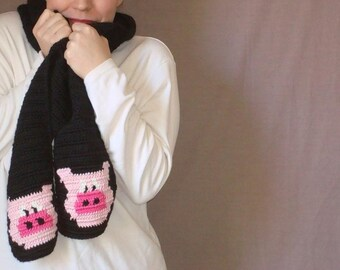 Pig Scarf - Pink and Black Scarf - Crochet Scarf - Hoooked Scarves for Men or Women MADE TO ORDER