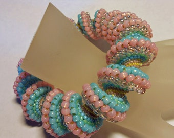 Cotton Candy Swirl Cellini Beadwoven Bracelet Bangle