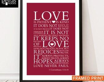 Love Print  Framed wall art, Bible verse -1 Corinthians 13:4 7 - Scripture art Framed Print Wall art- Wedding/ Anniversary Gift.
