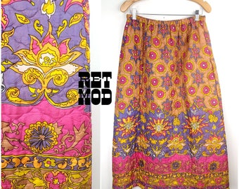Vintage 70s Pink, Purple, Yellow and Beige Medallion Floral Paisley Pattern Quilted Maxi Skirt