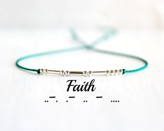Faith Minimal Morse Code Bracelet Motivational Jewelry Thin Sterling Silver Beaded Silk Cord Inspiration Bracelet