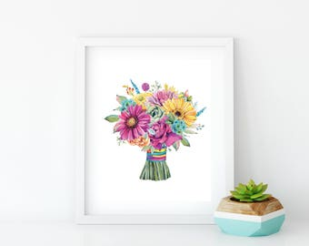 Flower Poster, Flower Bouquet Art, Wildflower Print, Bright Flower Wall Art, Rustic Floral Prints, Flower Art Wall Decor, Flower Artwork,