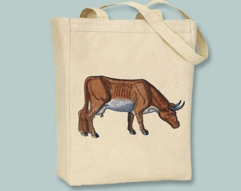 Vintage Primitive Cow, Steer Illustration Tote  -- Selection of sizes available