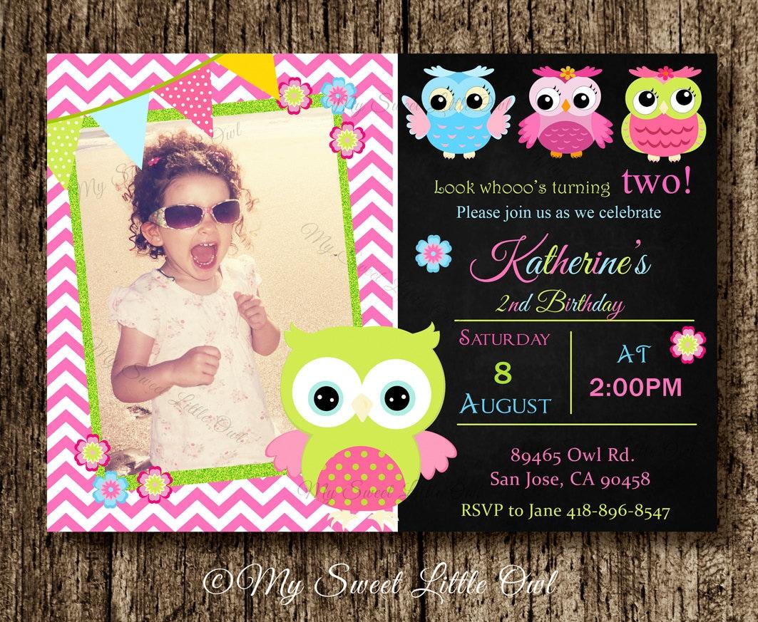 Owl invitation pink owl birthday owl invite chalkboard