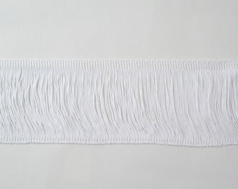 """White Chainette Fringe 4"""" Trim, Dance Costumes, Flapper Fringe, Decorating, Costume Supply, Tassel Trim, Sewing Trim By the Yard"""