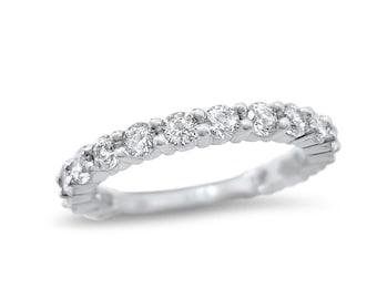 1 Carat Moissanite wedding ring 14k white gold 17 stone -Forever ONE ring - 14k White Gold  anniversary band - wedding ring - AB17S25W05