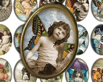 Victorian Steampunk Fairy Children - 30x40mm Cameo-Size Oval Images - Digital Collage Sheet - Instant Download