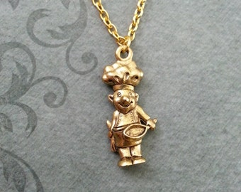 Chef Necklace SMALL Chef Jewelry Cook Necklace Cooking Jewelry Cooking Gift Chef Gift Baker Necklace Baking Gift Gold Necklace Gold Jewelry