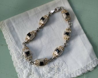 Sterling silver bracelet, vermeil and onyx vintage. Vintage silver vermeil bracelet