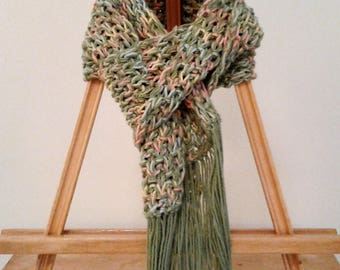 Knit Scarf with Fringe - Green/Pink/Yellow/Blue Ombre - Irish Moss Pattern