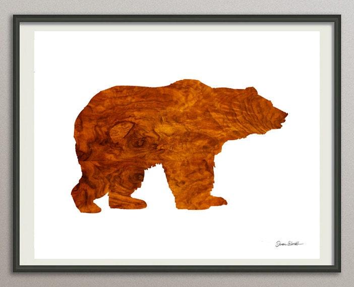 Bear art print poster bear watercolor abstract bear bear