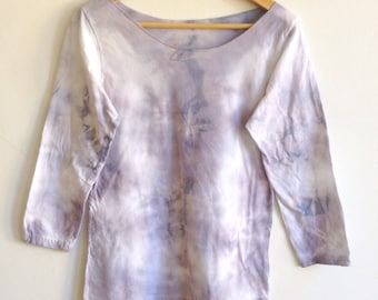Gray Crystal Ice Blue and Lavender Hand Dyed Top - XL