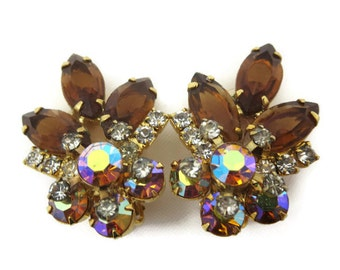 Vintage Rhinestone Earrings - Topaz and AB Rhinestone Clips Costume Jewelry Vintage Earrings for Women