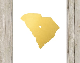 8x10 South Carolina State Printable, State Wall Art, Metallic Gold Printable Art, South Carolina Poster, Home Decor, Instant Download