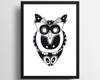 "Illustration ""Hibou cosmique"" A4 Print"