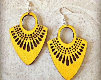 Yellow Wood Fan Earrings  Boho Gypsy African Tichel Accessory Flower Earrings Large Wooden Lightweight Earrings Ankara Wrap Accessory