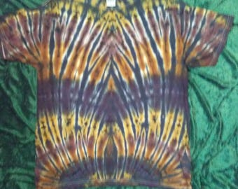 Tie Dye T Shirt Adult Large L Brown Tan Black Tiedye Tee shirt