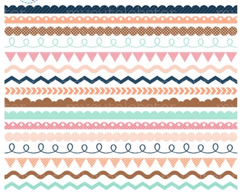 Borders Clipart Set - assorted borders clip art set, scalloped, pennant, swirl - personal use, small commercial use, instant download