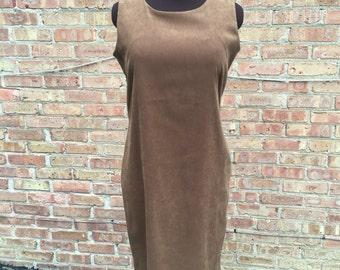 Vintage Suede Jumper Dress Size 12p