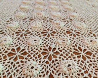 Crocheted Ivory Tablecloth, Hand Crocheted Bedspread, Wedding Tablecloth, Country Chic Cottage Style, Vintage Crochet, Handmade Table Linen