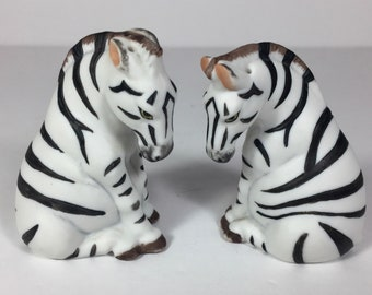 SALE Salt Pepper Shakers Zebras Porcelain Finely Detailed Vintage