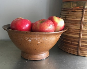 vintage studio pottery bowl stoneware textured brown fruit bowl decorative boho