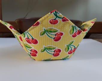 Microwave Bowl Cozy / Ice Cream Hand Warmer / Bowl Pot Holder - Cherries on Yellow
