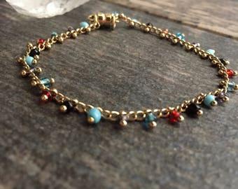 Dainty Gemstone Bracelet,Turquoise Bracelet,Gemstone Braclet,Multi Gemstone Bracelet,Delicate Gemstone Bracelet,Multicolor Bracelet,Gold