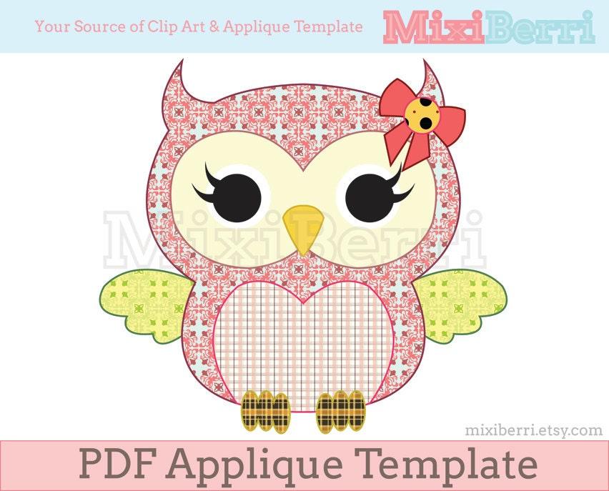 owl template pdf Miss Owl Applique Template PDF Animal Applique Pattern Instant